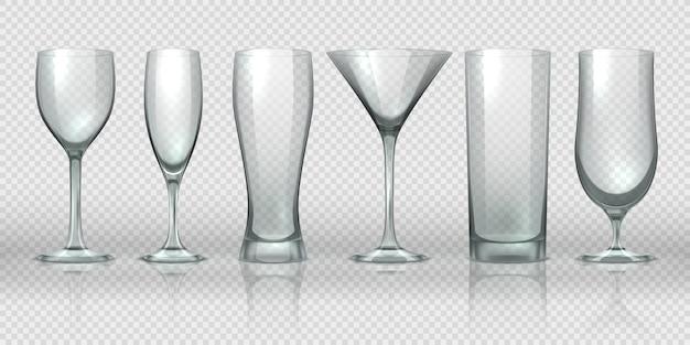 Tazze di vetro. vuoti bicchieri trasparenti e calici mockup, realistica pinta di orso 3d e bicchieri da cocktail.