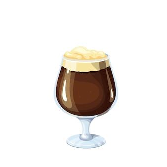 Bicchiere di birra scura. bevanda alcolica tradizionale del festival della birra oktoberfest. illustrazione vettoriale.