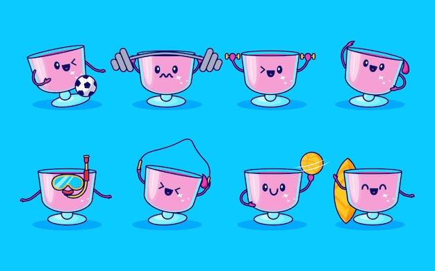 Set di simpatici personaggi da bere in vetro