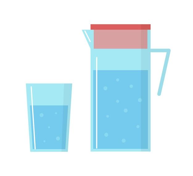 Bicchiere di acqua potabile e la brocca di vetro su sfondo bianco. liquido di vettore blu in stile piano.