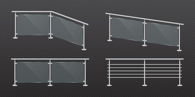 Sezione di recinzione in vetro con ringhiera in acciaio