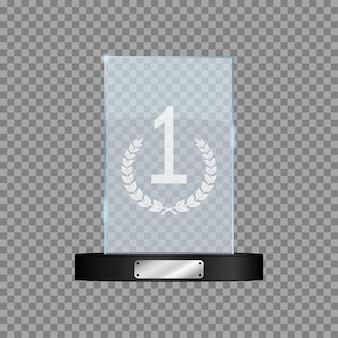 Premio per il primo posto in vetro mockup realistico del trofeo dei vincitori rettangolari su sfondo trasparente