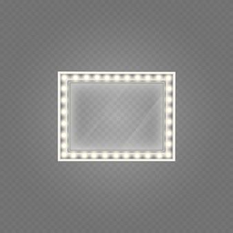 Cornice di vetro con luci isolato.