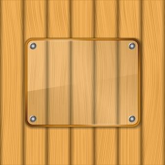 Cornice in vetro su fondo in legno