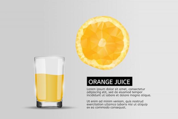 Bicchiere di succo d'arancia fresco con modello di testo