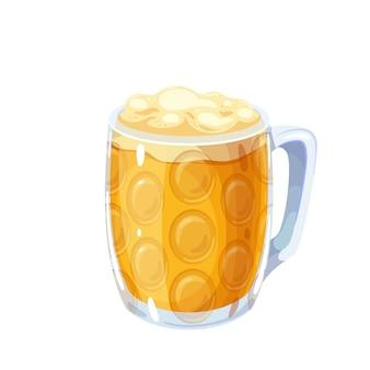 Bicchiere pieno di birra bionda con schiuma di birra. oktoberfest. tazza masskrug, bevanda tradizionale alcolica del festival della birra oktoberfest. illustrazione vettoriale in stile cartone animato.