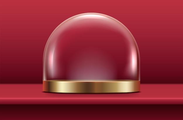 Piedistallo in vetro con placca in oro su fondo rosso