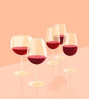 Calici di vetro per vino
