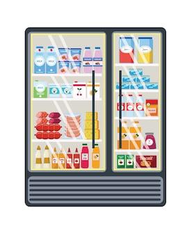 Scaffale della drogheria in vetro con vari prodotti nel negozio o nel supermercato.