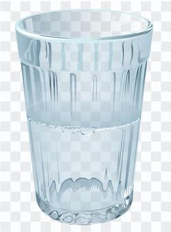 Bicchiere mezzo vuoto o mezzo pieno. illustrazione del bicchiere d'acqua
