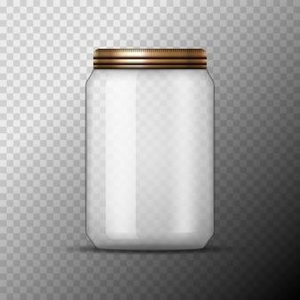 Vaso in vetro per l'inscatolamento e la conservazione. modello struttura vaso vuoto con coperchio o coperchio trasparente.
