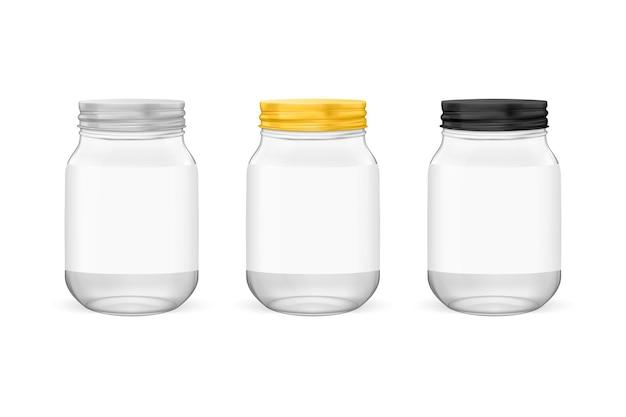 Barattolo di vetro per conserve e set di conservazione con coperchi dorati argentati e neri isolati su briciolo
