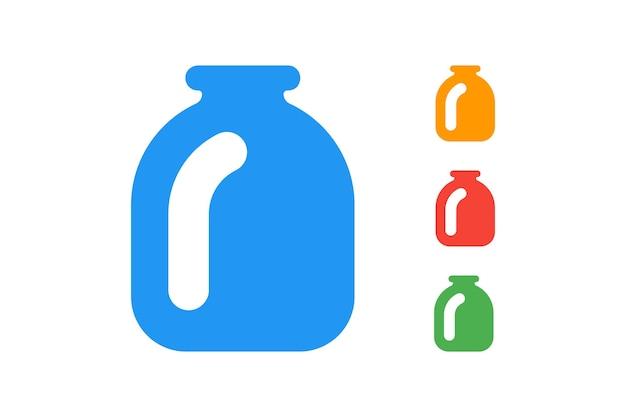 Set di illustrazione vettoriale piatto vaso di vetro bottiglia da cucina blu rosso verde arancione icone