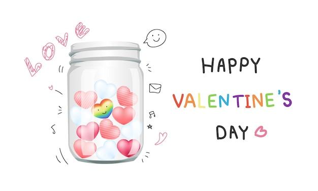 Vaso di vetro pieno di amore solated su bianco