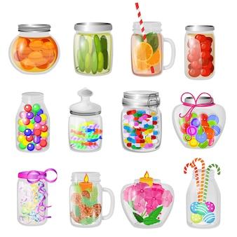 Inceppamento di vetro di vettore del barattolo o gelatina dolce in cristalleria di muratore con il coperchio o copertura per inscatolare e conservare l'insieme di vetro dell'illustrazione del bicchiere foggiante a coppa con conservazione isolata.
