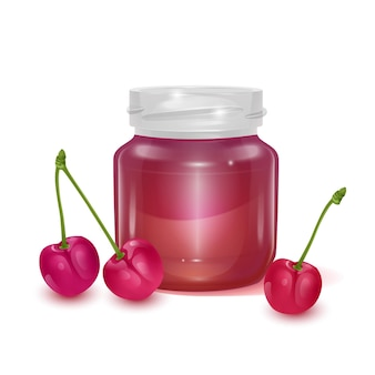 Vaso di vetro con illustrazione di marmellata di mele