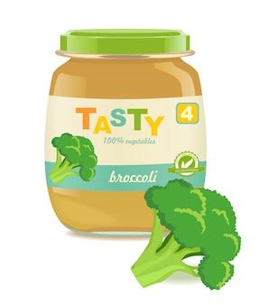 Vaso di vetro con alimenti per bambini broccoli