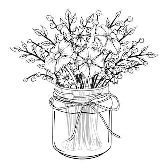 Vaso di vetro con fiori. bouquet di primavera.