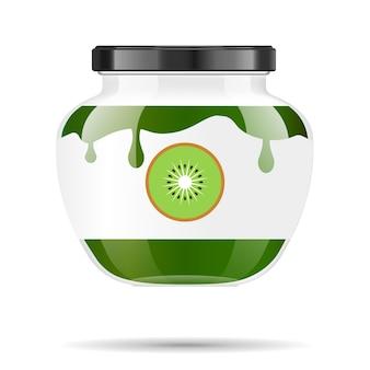 Vaso di vetro con marmellata e configura con kiwi. raccolta di imballaggi. etichetta per marmellata. banca realistica.