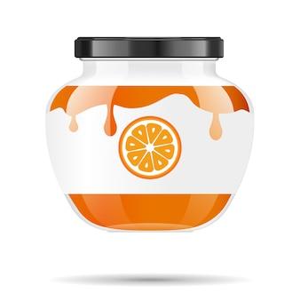 Vaso di vetro con marmellata e configura con l'arancia. raccolta di imballaggi. etichetta per marmellata. banca realistica.