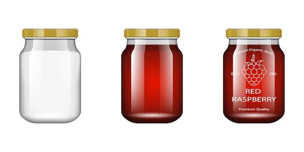 Vaso di vetro con marmellata e configura con lampone. raccolta di imballaggi. etichetta per marmellata. banca realistica.
