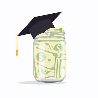 Vaso di vetro con soldi per l'istruzione, illustrazione vettoriale isolato.