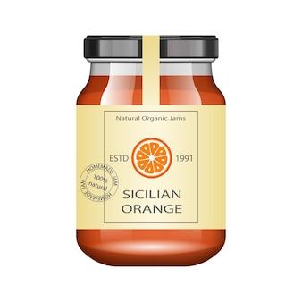 Vaso di vetro con marmellata di arance e configurare. raccolta di imballaggi. etichetta vintage per marmellata. banca realistica.