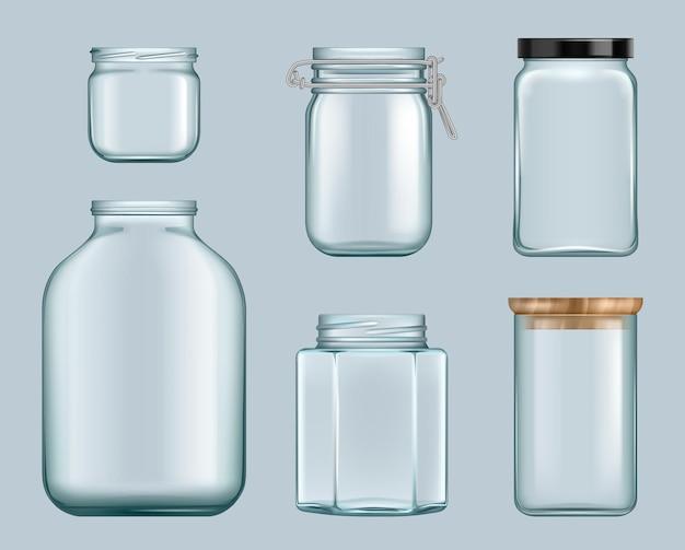 Barattoli di vetro. contenitori di marmellata di prodotti bottiglie trasparenti per alimenti in scatola liquidi per modello di vettore di scaffali. illustrazione inscatolamento di vetro del barattolo, chiudere la bottiglia vuota del contenitore