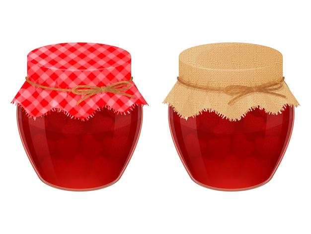 Vasetti di vetro con gustosa marmellata di fragole. stile realistico. isolato su bianco.