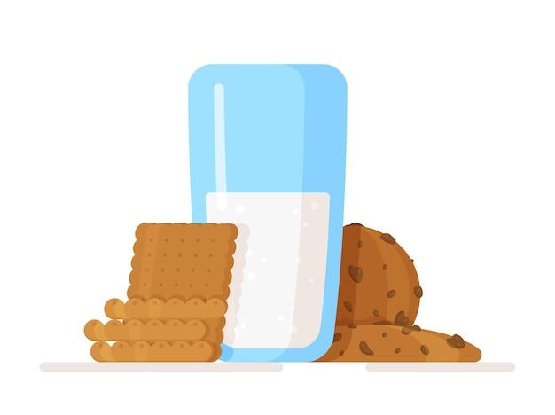 Bicchiere di latte e biscotti su bianco