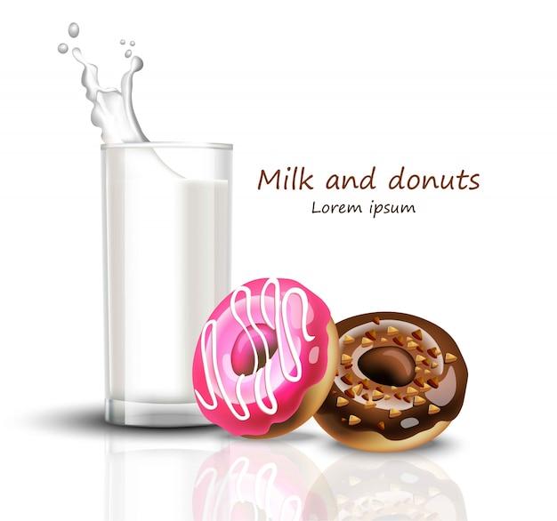 Bicchiere di latte e ciambelle realistici. splash bere sfondi bianchi