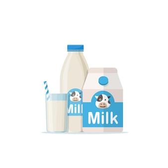 Bicchiere di latte con pacchetto gable top da vicino