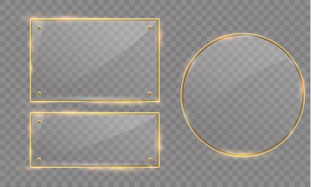 Banner moderno in vetro con cornice metallica dorata lucida su sfondo trasparente. Vettore Premium