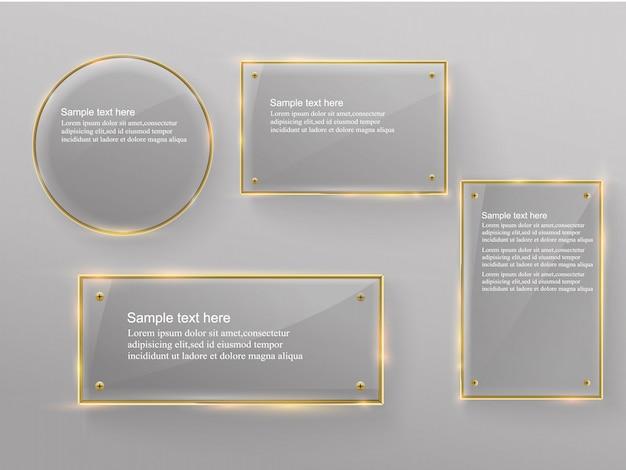 Banner moderno in vetro con cornice metallica dorata lucida su sfondo trasparente.