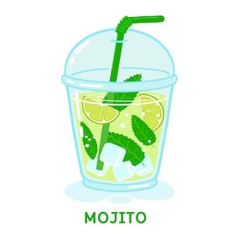 Bicchiere di cocktail mojito con menta e paglia illustrazione vettoriale isolato su sfondo bianco