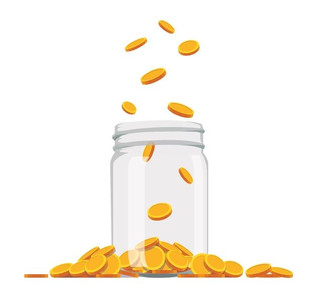 Vaso di vetro dei soldi pieno di monete d'oro, illustrazione di stile piano.