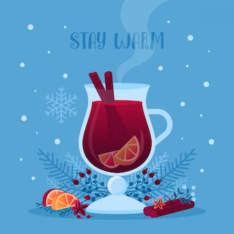 Illustrazione vettoriale di vetro vin brulè