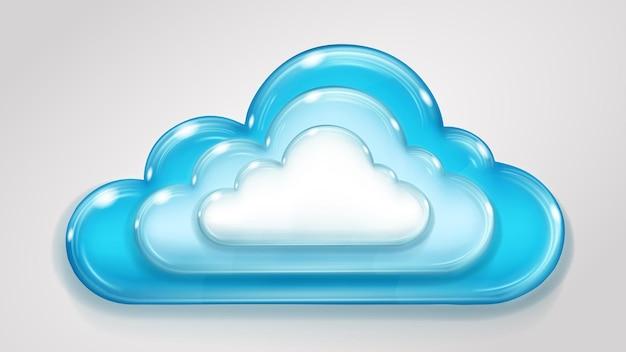 Nuvola multistrato di vetro nei colori dell'azzurro