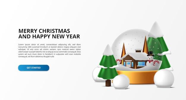 Decorazione di sfere di vetro per buon natale e felice anno nuovo con casa invernale. semplice design di lusso