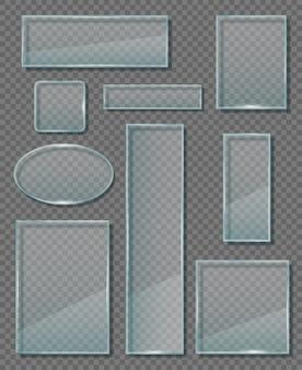 Placca di vetro. i moderni pannelli di pareti trasparenti diversi banner vuoti formano vettori di forme geometriche