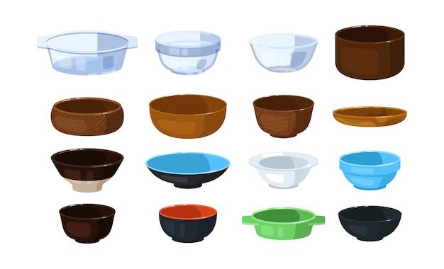 Ciotola di vetro, plastica, legno e ceramica isolata su bianco