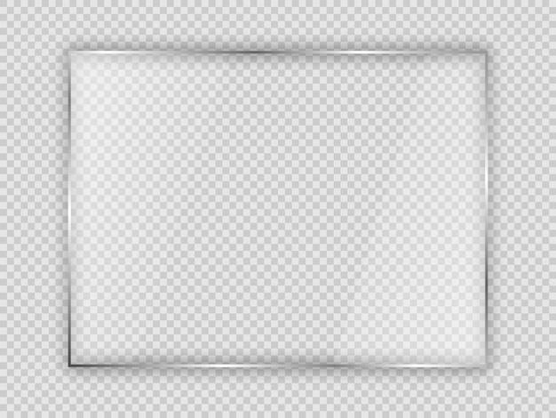 Lastra di vetro in cornice rettangolare isolata su sfondo trasparente. illustrazione vettoriale.