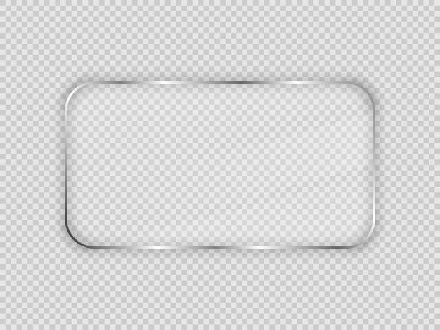 Lastra di vetro in cornice rettangolare arrotondata isolata su sfondo trasparente. illustrazione vettoriale.