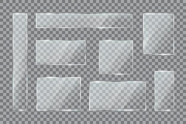 Finestra trasparente in lastra di vetro con set di banner a bottone rettangolare in plastica acrilica lucida