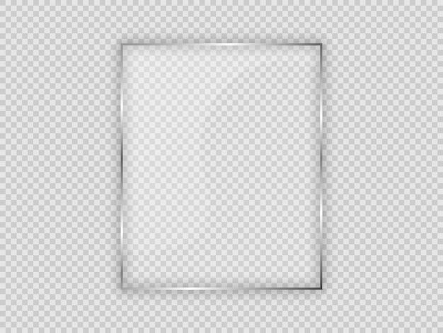 Lastra di vetro in cornice verticale isolata su sfondo trasparente. illustrazione vettoriale.