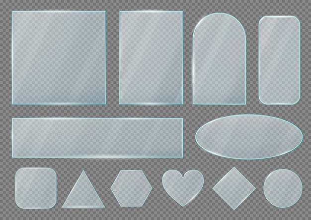 Forme di lastre e cornici in vetro, effetto trasparente realistico
