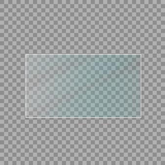 Set di lastre di vetro. banner di vetro su sfondo trasparente. vetro piano. illustrazione vettoriale