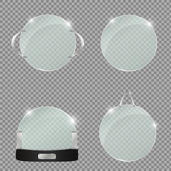 Set di piatti di vetro. striscioni di vetro su sfondo trasparente.