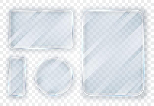 Set di piatti in vetro. striscioni di vetro su sfondo trasparente.