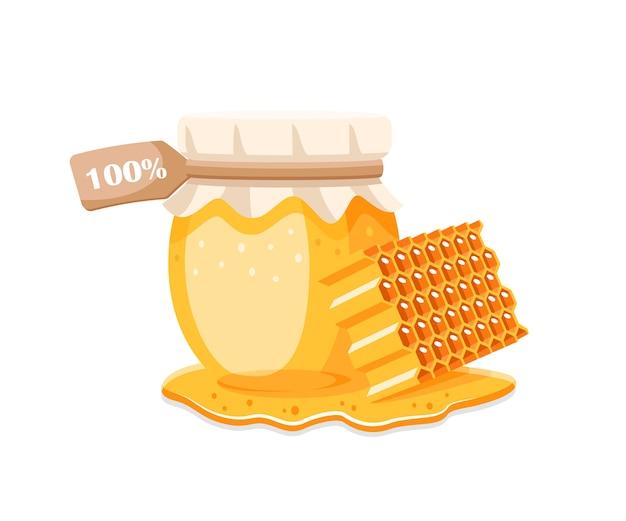 Vaso di vetro con miele, favo con gocce di miele su sfondo bianco. elemento per il concetto di miele. illustrazione
